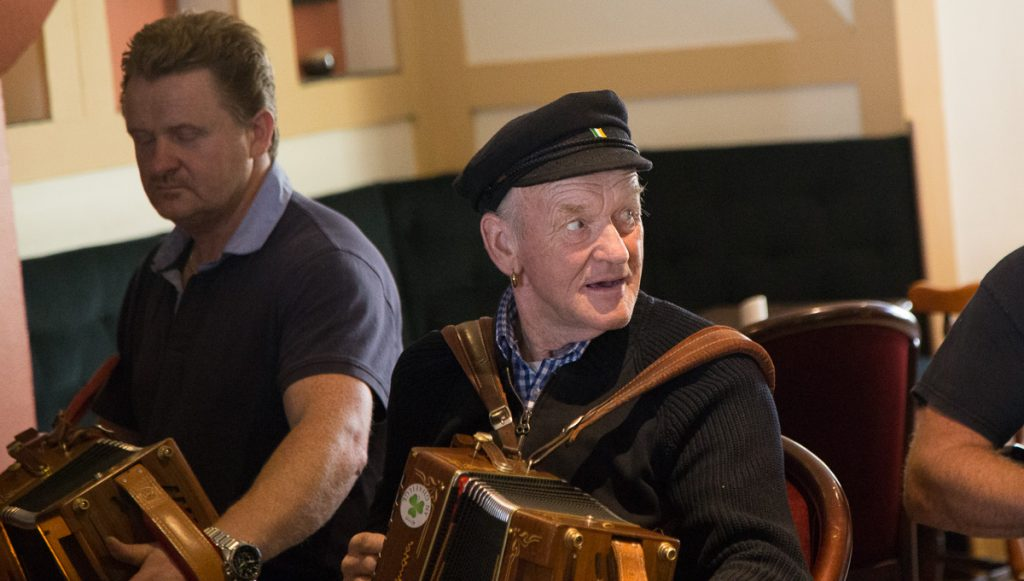 King of Tory Island performs at a trad session on the island