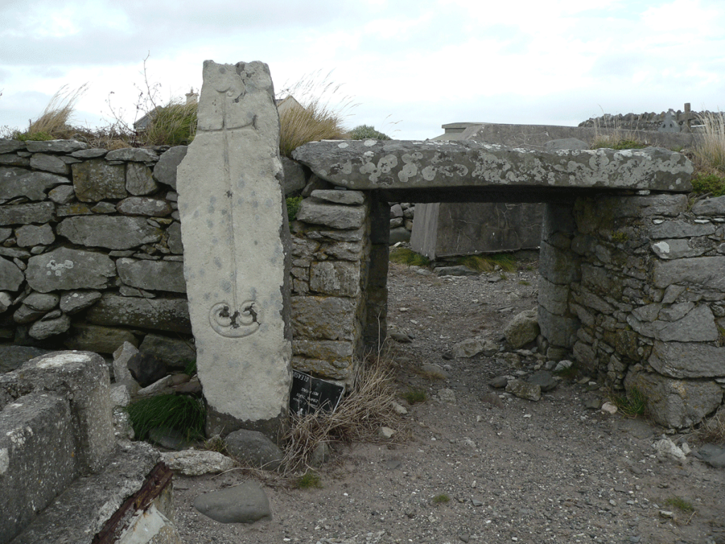 Cross pillar slab at the church ruin in Kilshannig